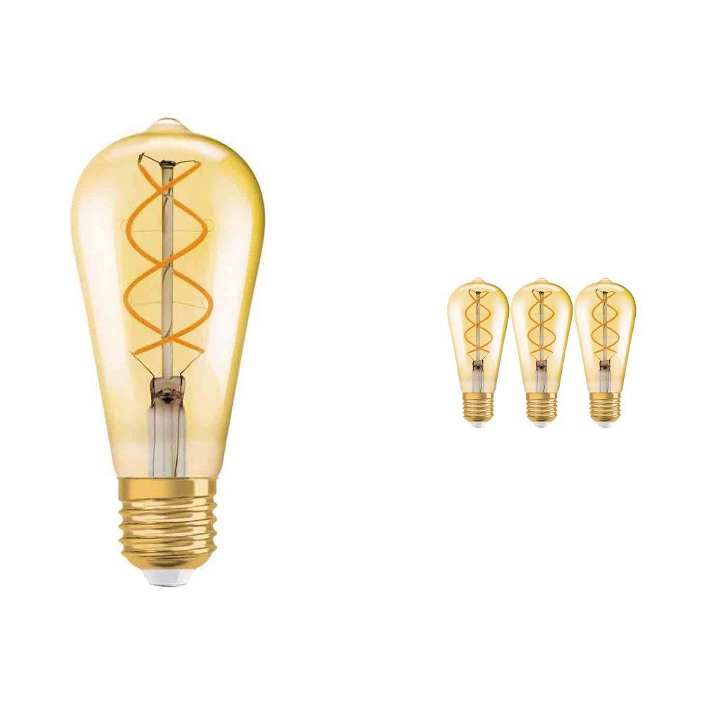 Multipack 4x Osram Vintage 1906 LED E27 Edison 5W 820 Gold   Extra Warm White - Replaces 25W
