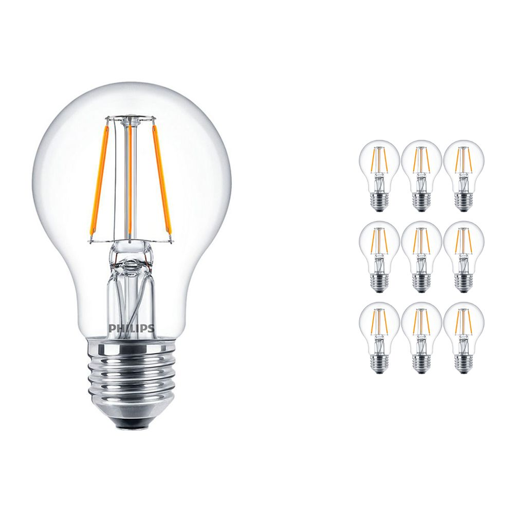 Multipack 10x Philips Classic LEDbulb E27 A60 4.3W 827 Clear   Extra Warm White - Replaces 40W